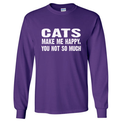 Cats Make me happy, you not so much tshirt - Long Sleeve T-Shirt S-Purple- Cool Jerseys - 1