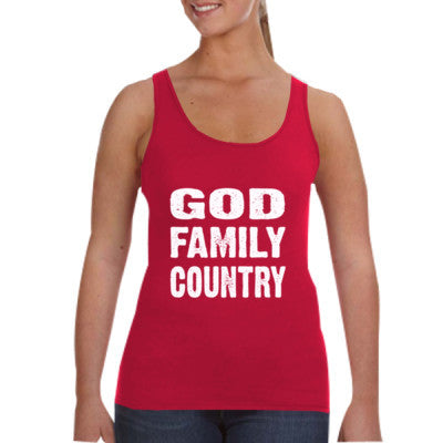God Family Country - Ladies Tank Top S-Independence Red- Cool Jerseys - 1