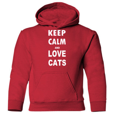 Keep Calm And Love Cats - Heavy Blend Children's Hooded Sweatshirt S-Red- Cool Jerseys - 1