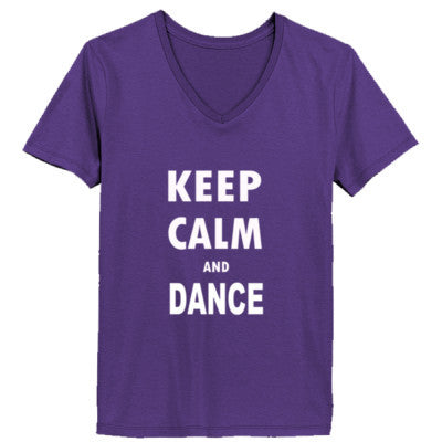 Keep Calm And Dance - Ladies' V-Neck T-Shirt XS-Purple- Cool Jerseys - 1