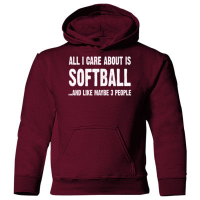 All i Care About Softball And Like Maybe Three People Heavy Blend Children's Hooded Sweatshirt S-Maroon- Cool Jerseys - 1