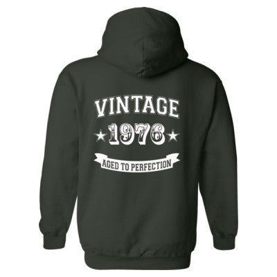 Vintage 1976 Aged To Perfection- Heavy Blend™ Hooded Sweatshirt BACK ONLY S-Forest- Cool Jerseys - 1