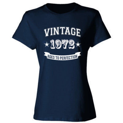 Vintage 1972 Aged To Perfection tshirt - Ladies' Cotton T-Shirt S-Navy- Cool Jerseys - 1