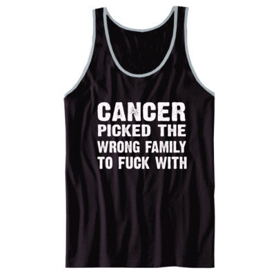 Cancer Picked The Wrong Family To Fuck With Tshirt - Unisex Jersey Tank XS-Black- Cool Jerseys - 1