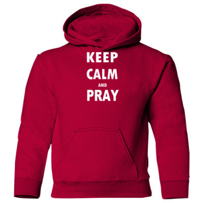 Keep Calm And Pray - Heavy Blend Children's Hooded Sweatshirt - Front and Back Print S-Garnet- Cool Jerseys - 1
