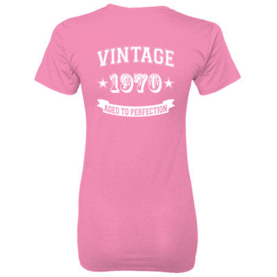 Vintage 1970 Aged To Perfection tshirt - Ladies' 100% Ringspun Cotton nano-T® Back Print Only S-Pink- Cool Jerseys - 1
