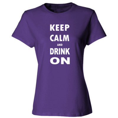 Keep Calm And Drink On - Ladies' Cotton T-Shirt S-Purple- Cool Jerseys - 1