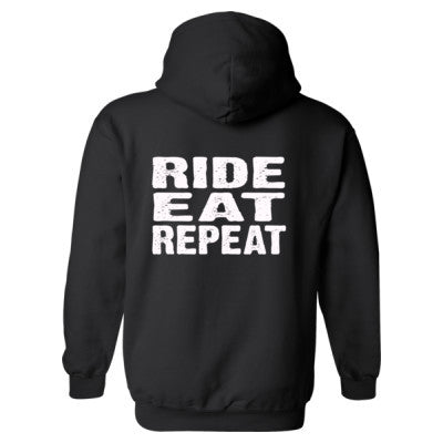 Ride Eat Repeat Heavy Blend™ Hooded Sweatshirt BACK ONLY S-Black- Cool Jerseys - 1