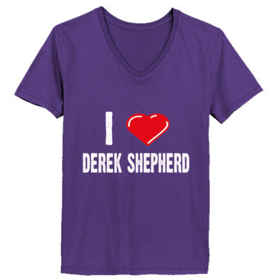 I love Patrick Dempsey tshirt - Ladies' V-Neck T-Shirt XS-Purple- Cool Jerseys - 1