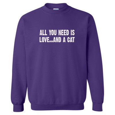 All you need is love and a cat tshirt - Heavy Blend™ Crewneck Sweatshirt S-Purple- Cool Jerseys - 1