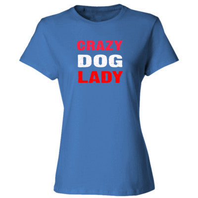 Crazy Dog Lady tshirt - Ladies' Cotton T-Shirt S-Carolina Blue- Cool Jerseys - 1