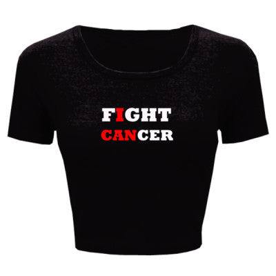 Fight Cancer Tshirt - Ladies' Crop Top XS/S-Black- Cool Jerseys - 1