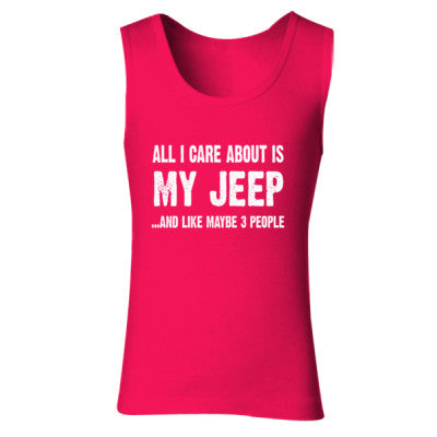 All i Care About Is My Jeep tshirt - Ladies' Soft Style Tank Top S-Cherry Red- Cool Jerseys - 1