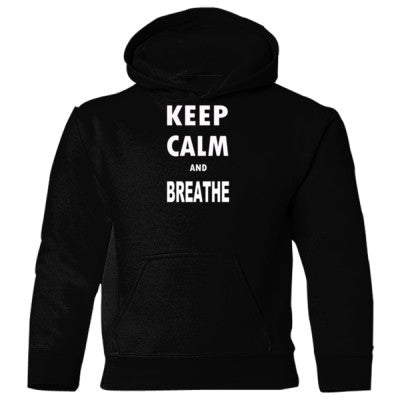 Keep Calm and Breathe - Heavy Blend Children's Hooded Sweatshirt S-Black- Cool Jerseys - 1