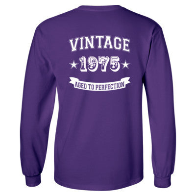 Vintage 1975 Aged To Perfection tshirt - Long Sleeve T-Shirt - BACK PRINT ONLY S-Purple- Cool Jerseys - 1