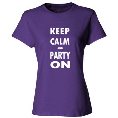 Keep Calm And Party On - Ladies' Cotton T-Shirt S-Purple- Cool Jerseys - 1