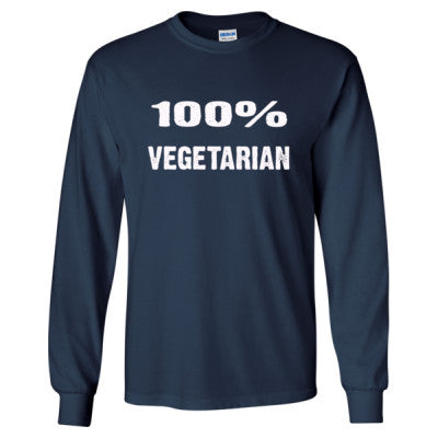 100% Vegetarian tshirt - Long Sleeve T-Shirt S-Navy- Cool Jerseys - 1