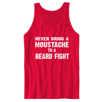Never Bring A Moustache To A Beard Fight Tshirt - Unisex Jersey Tank S-Red- Cool Jerseys - 1