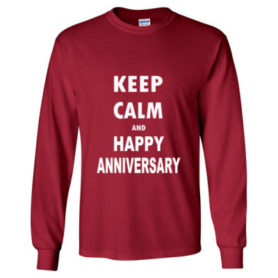Keep Calm And Happy Anniversary - Long Sleeve T-Shirt S-Cardinal Red- Cool Jerseys - 1