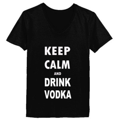 Keep Calm And Drink Vodka - Ladies' V-Neck T-Shirt XS-Black- Cool Jerseys - 1