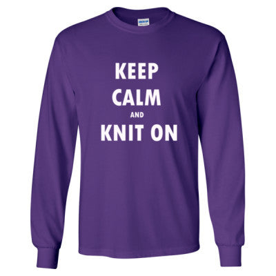 Keep Calm And Knit On - Long Sleeve T-Shirt S-Purple- Cool Jerseys - 1