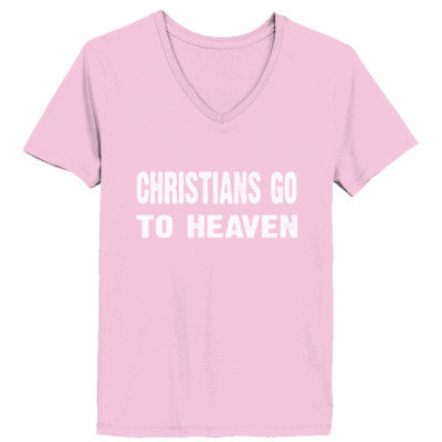 Christians go to heaven tshirt - Ladies' V-Neck T-Shirt XS-Pale Pink- Cool Jerseys - 1