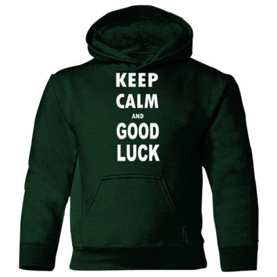 Keep Calm And Good Luck - Heavy Blend Children's Hooded Sweatshirt S-Forest Green- Cool Jerseys - 1