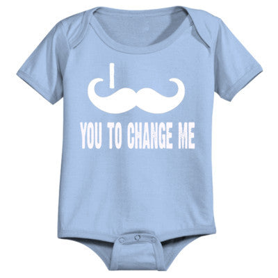 I mustache you to change me - Infant 1 Piece 24M-Light Blue- Cool Jerseys - 1