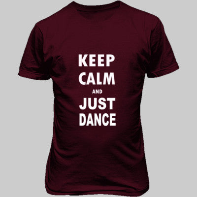 Keep Calm And Just Dance - Unisex T-Shirt FRONT Print S-Heathered Cardinal- Cool Jerseys