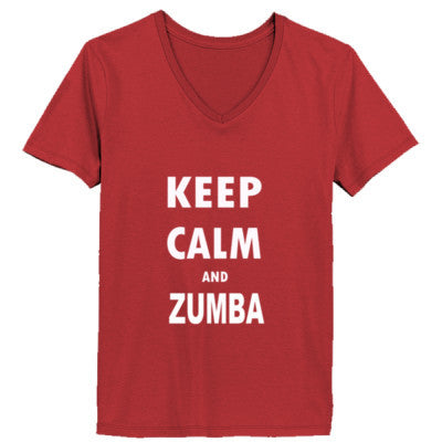 Keep Calm And Zumba - Ladies' V-Neck T-Shirt - Cool Jerseys - 1