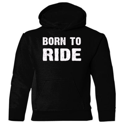 Born To Ride Heavy Blend Children's Hooded Sweatshirt S-Black- Cool Jerseys - 1