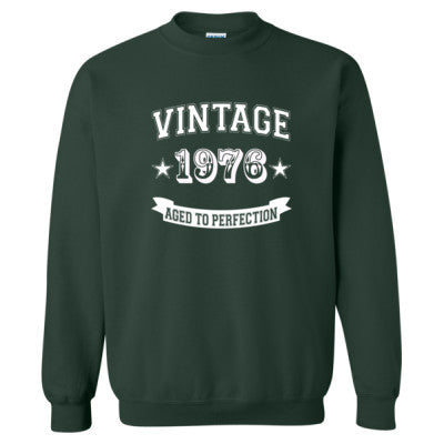 Vintage 1976 Aged To Perfection tshirt - Heavy Blend™ Crewneck Sweatshirt S-Forest- Cool Jerseys - 1
