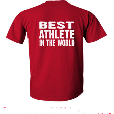 Best Athlete In The World - Ultra-Cotton T-Shirt Back Print Only S-Cardinal Red- Cool Jerseys - 1