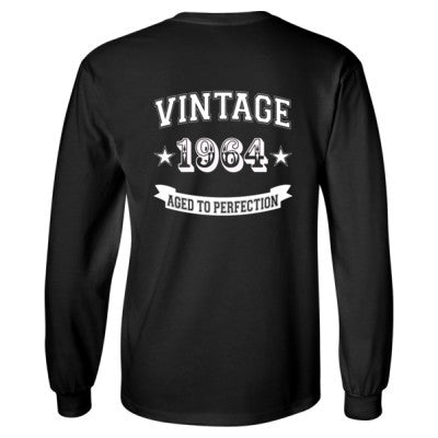 Vintage 1964 Aged To Perfection - Long Sleeve T-Shirt - BACK PRINT ONLY S-Black- Cool Jerseys - 1