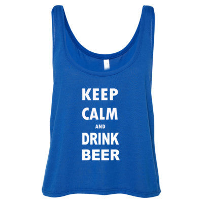 Keep Calm And Drink Beer - Ladies' Cropped Tank Top S-True Royal- Cool Jerseys - 1
