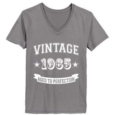 Vintage 1965 Aged To Perfection - Ladies' V-Neck T-Shirt - Cool Jerseys - 1