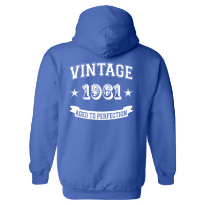Vintage 1961 Aged To Perfection - Heavy Blend™ Hooded Sweatshirt BACK ONLY S-Royal- Cool Jerseys - 1