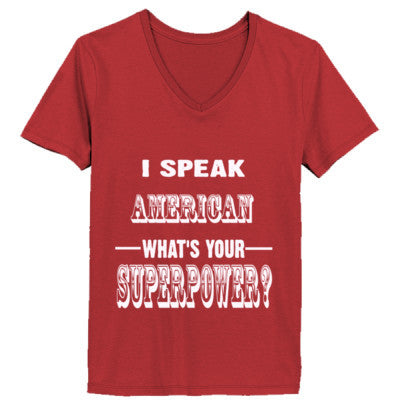 I Speak American - Ladies' V-Neck T-Shirt - Cool Jerseys - 1