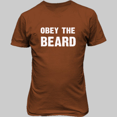 Obey The Beard Tshirt - Unisex T-Shirt FRONT Print S-Texas Orange- Cool Jerseys - 1