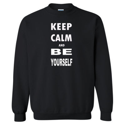Keep Calm and Be Yourself - Heavy Blend™ Crewneck Sweatshirt S-Black- Cool Jerseys - 1