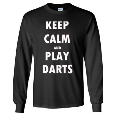 Keep Calm And Play Darts - Long Sleeve T-Shirt S-Black- Cool Jerseys - 1