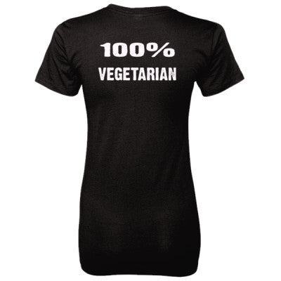 100% Vegetarian tshirt - Ladies' 100% Ringspun Cotton nano-T® Back Print Only S-Black- Cool Jerseys - 1