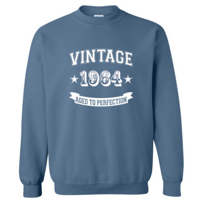 Vintage 1964 Aged To Perfection - Heavy Blend™ Crewneck Sweatshirt S-Indigo Blue- Cool Jerseys - 1