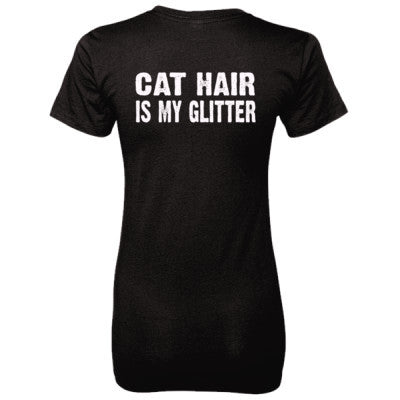 Cat Hair is my glitter tshirt - Ladies' 100% Ringspun Cotton nano-T® Back Print Only S-Black- Cool Jerseys - 1