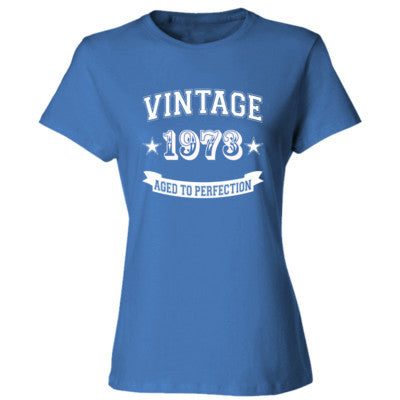 Vintage 1973 Aged To Perfection tshirt - Ladies' Cotton T-Shirt S-Carolina Blue- Cool Jerseys - 1