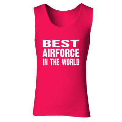 Best Airforce In The World - Ladies' Soft Style Tank Top S-Cherry Red- Cool Jerseys - 1