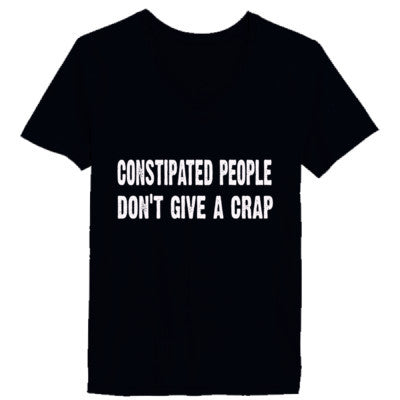 Constipated People Dont Give A Crap Tshirt - Ladies' V-Neck T-Shirt XS-Vintage Black- Cool Jerseys - 1