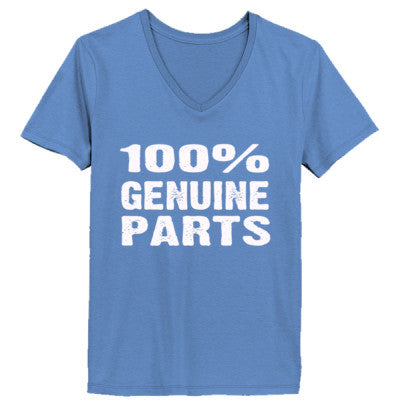 100% Genuine Parts tshirt - Ladies' V-Neck T-Shirt XS-Vintage Blue- Cool Jerseys - 1