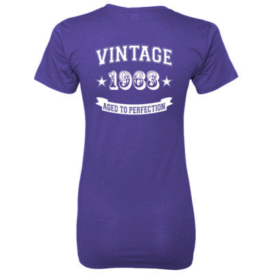 Vintage 1963 Aged To Perfection - Ladies' 100% Ringspun Cotton nano-T® Back Print Only S-Purple- Cool Jerseys - 1