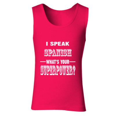 I Speak Spanish - Ladies' Soft Style Tank Top S-Cherry Red- Cool Jerseys - 1
